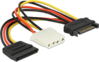 Picture of Delock Cable Power SATA 15 pin male > Molex 4 pin female + SATA 15 pin female
