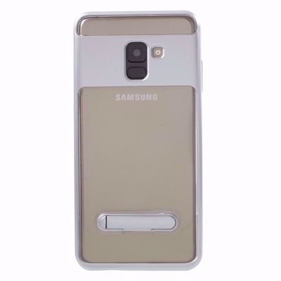 TPU Kickstand Mobile Phone Cover For Samsung Galaxy A8 Plus (2018)- Silver