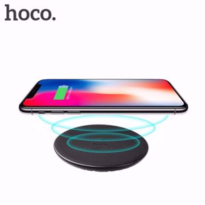 HOCO CW14 5V/2A Qi Standard Wireless Charging Pad with LED Light for iPhone Samsung etc. - Black