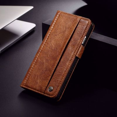 CASEME Vintage Style Wallet PU Leather Mobile Phone Cover Shell for Samsung Galaxy S8 Plus G955 - Brown