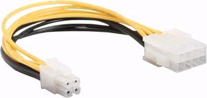 InLine Mainboard power adaptor, InLine, ATX2.0 8pin plug -> 12V ATX1.3 4pin jack, 15cm
