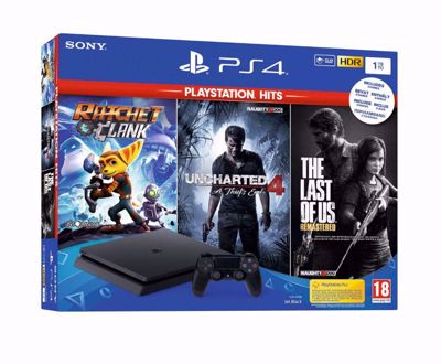 Playstation 4 1 TB + Uncharted 4 + The Last Of Us + Ratchet & Clank Playstation Hits
