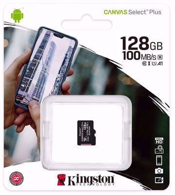 Kingston Canvas Plus C10, 128 GB, A1 SDHC, Read 100MB/S (SDCS2/128GBSP)