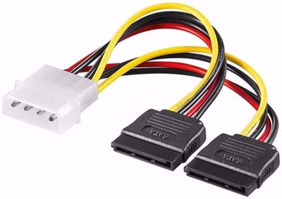 Goobay Power adapter 0.13m 4-pin 5.25 power plug to 2x 15-pin S-ATA 0.13m (68524) Molex to Two SATA Lead