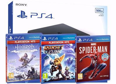 Playstation 4 500GB Slim Console Bundle - Horizon Zero Dawn complete - Rachet & Clank - Spider-Man