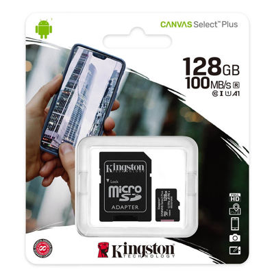 Kingston Canvas Plus C10, 128GB, A1 SDHC, Read 100MB/S (SDCS2/128GBSP)